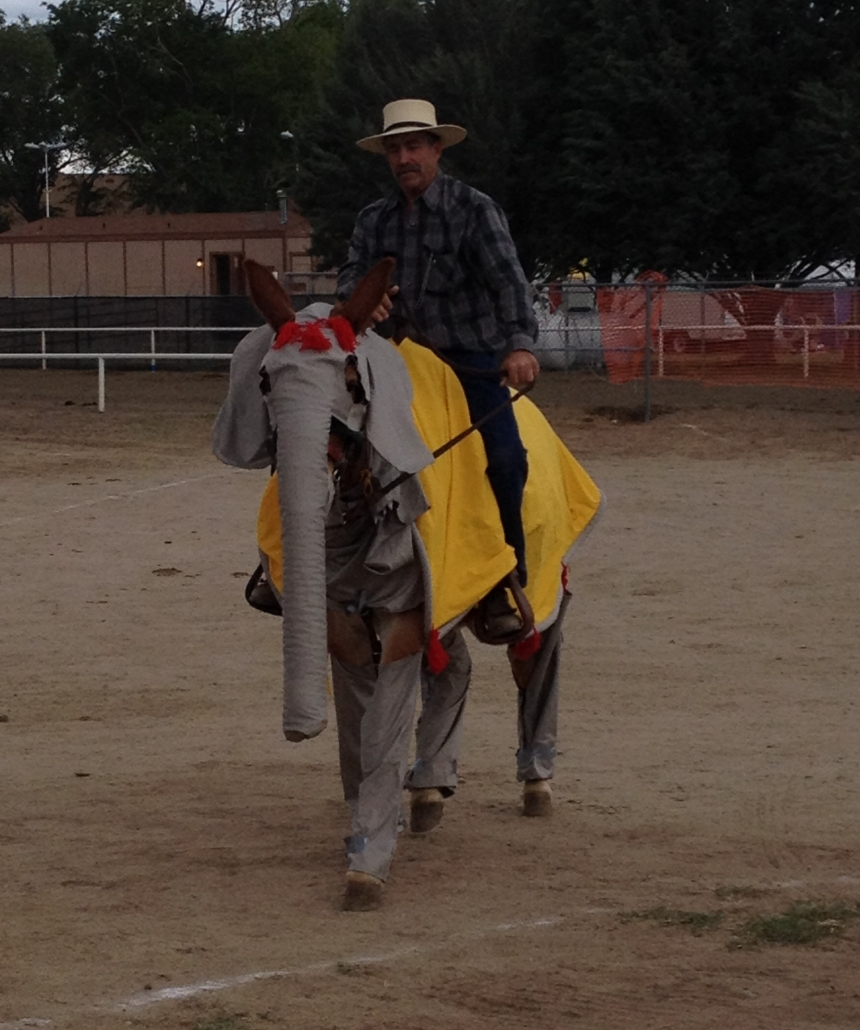 Carl Perry riding Clay the Mule for Bishop Mule Days comedy