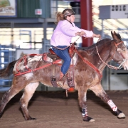 Kayla Riding Flynn the Mule Barrel Racing
